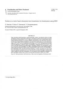 Studies on a water-based absorption heat transformer for ... - deswater