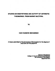 STUDIES ON BIOSYNTHESIS AND ACTIVITY OF ...