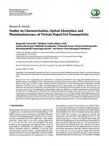 Studies on Characterization, Optical Absorption, and