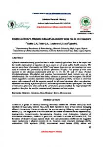 Studies on Dietary Aflatoxin-induced Genotoxicity ... - Babcock University