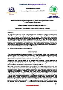 Studies on drinking water quality at public transport stations ... - iMedpub
