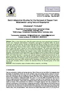 Studies on elimination of copper from wastewater by adsorption on ...