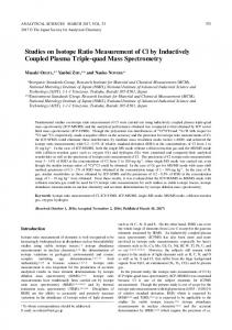 Studies on Isotope Ratio Measurement of Cl by Inductively Coupled ...