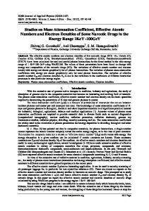 Studies on Mass Attenuation Coefficient, Effective Atomic Numbers ...