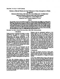 Studies on Selected Metals and other Pollutants in Urban Atmosphere ...