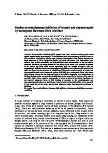 Studies on simultaneous inhibition of trypsin and chymotrypsin by ...