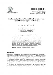 Studies on Synthesis of Pyrimidine Derivatives and their ... - Hindawi
