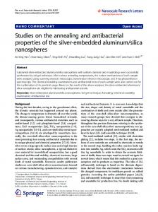 Studies on the annealing and antibacterial properties of the silver ...