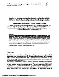 Studies on the biosynthesis of surfactin from Bacillus