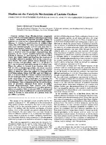 Studies on the Catalytic Mechanism of Lactate ... - Semantic Scholar