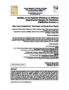 Studies on the Relative Efficiency of Different ...