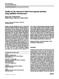 Studies on the removal of nickel from aqueous solutions using ...