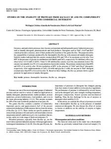 studies on the stability of protease from bacillus sp. and its ... - SciELO