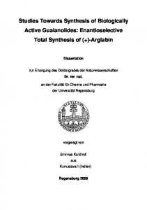 Studies Towards the Enantioselective Total Synthesis of Biological ...
