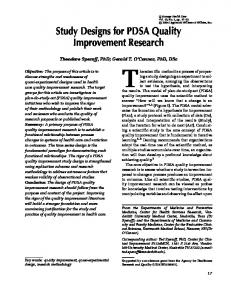 Study Designs for PDSA Quality Improvement ... - InnovationLabs