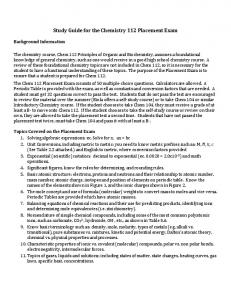 Study Guide for Chemistry Placement Test - Biola