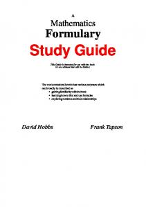 Study Guide for Maths Formulary - Cleave Books