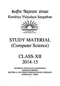 STUDY MATERIAL (Computer Science) CLASS-XII 2014-15