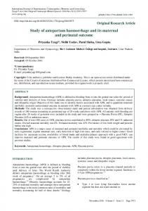 Study of antepartum haemorrhage and its maternal and ... - eJManager