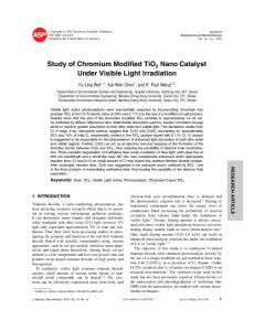 Study of Chromium Modified TiO2 Nano Catalyst Under Visible Light
