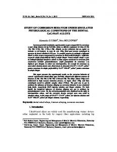 STUDY OF CORROSION BEHAVIOR UNDER SIMULATED ...