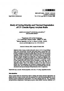 Study of Curing Kinetics and Thermal Degradation of UV Curable ...