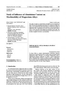 Study of Influence of Aluminium Content on Machinability of ...