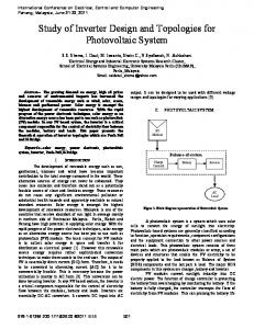 Study of Inverter Design and Topologies for Photovoltaic System