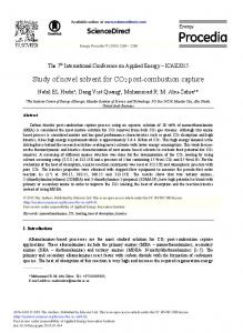 Study of Novel Solvent for CO2 Post-combustion Capture - Core