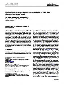 Study of optical properties and biocompatibility of DLC ... - Springer Link