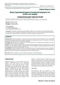 Study of psychosocial aspects of unmarried pregnancy in a tertiary ...