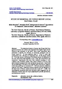STUDY OF REMOVAL OF CONGO RED BY LOCAL NATURAL CLAY
