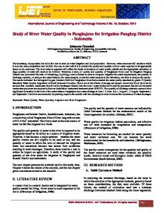 Study of River Water Quality in Pangkajene for Irrigation Pangkep ...