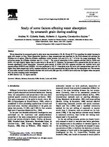 Study of some factors affecting water absorption by amaranth grain ...