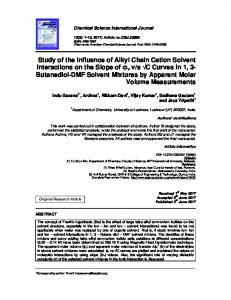 Study of the Influence of Alkyl Chain Cation Solvent ...