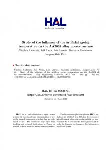 Study of the influence of the artificial ageing temperature on the ... - Hal