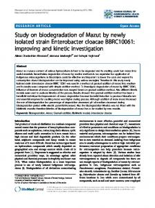 Study on biodegradation of Mazut by newly isolated ... - Springer Link