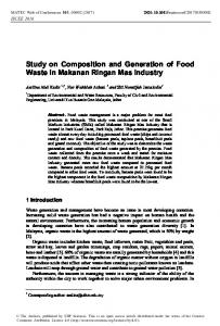 Study on Composition and Generation of Food Waste in Makanan ...