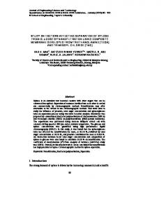 study on factors affecting separation of xylose from glucose by