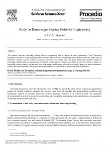 Study on Knowledge Sharing Behavior Engineering