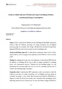 Study on Multi-objective Flexible Job-shop Scheduling Problem ...