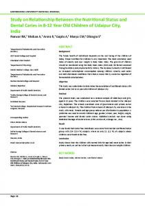 Study on Relationship Between the Nutritional Status and Dental ...