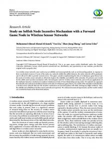 Study on Selfish Node Incentive Mechanism with a Forward Game ...