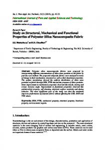 Study on Structural, Mechanical and Functional Properties of Polyester ...