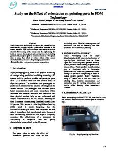 Study on the Effect of orientation on printing parts in FDM ... - IJISET