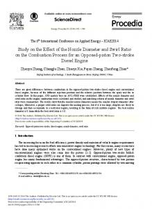 Study on the Effect of the Nozzle Diameter and Swirl ... - ScienceDirect