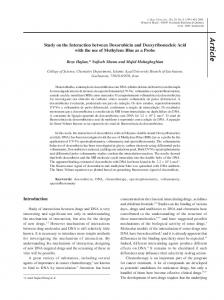 Study on the Interaction between Doxorubicin and Deoxyribonucleic
