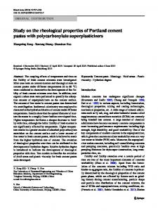 Study on the rheological properties of Portland cement pastes with ...