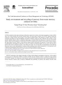 Study on Treatment and Recycling of Mercury from Waste Mercury ...