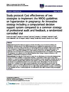 Study protocol: Cost effectiveness of two strategies to implement the